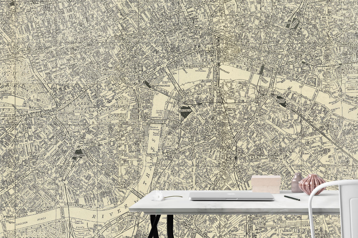 Switchscene | Commercial Wallpaper | Monochrome London map and desk