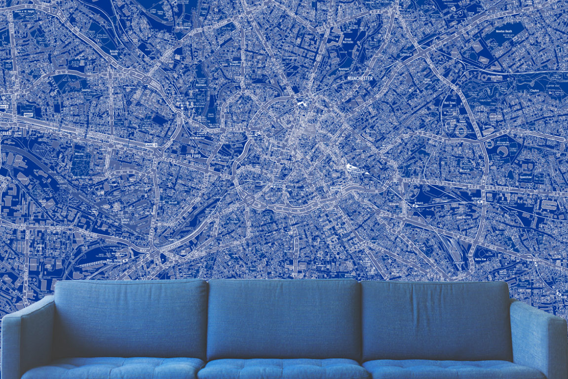 Switchscene | Commercial Wallpaper | Blue Map and Sofa