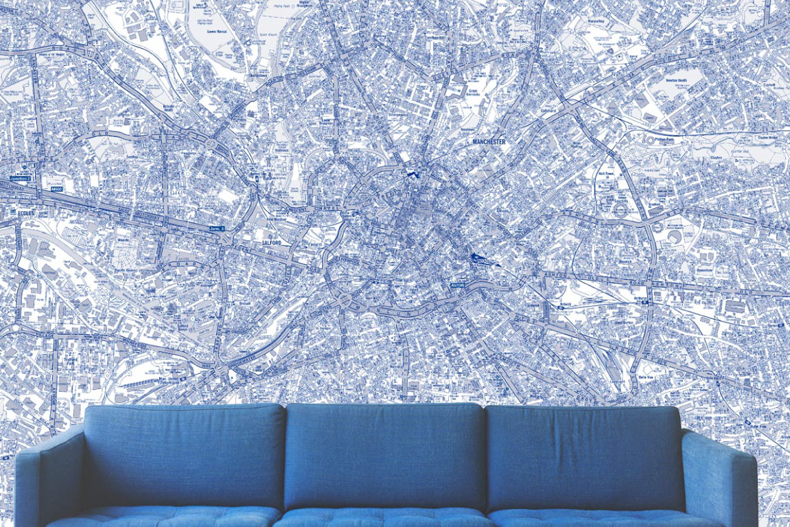 Switchscene | Commercial Wallpaper | Pale Blue London map and Sofa