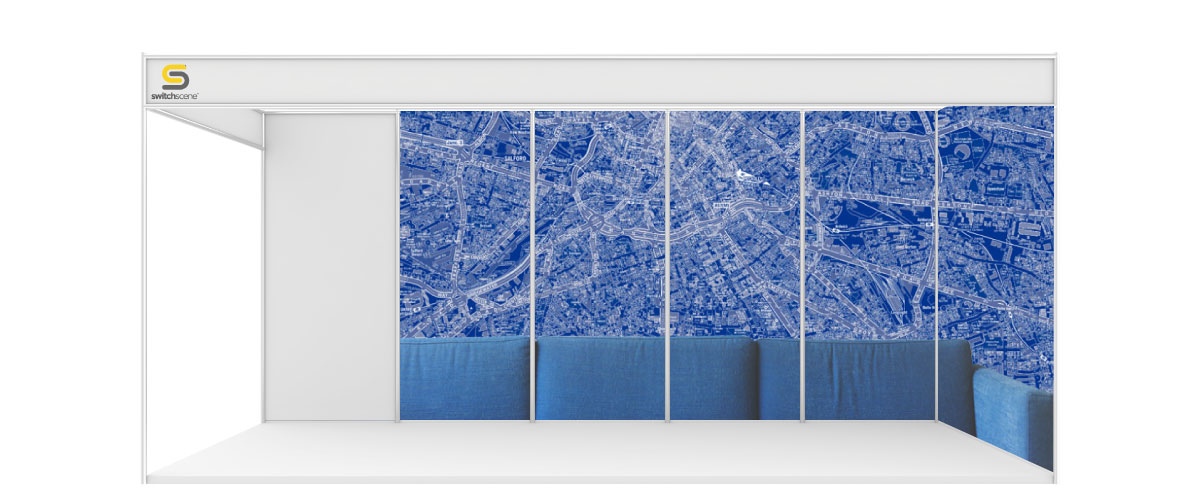 Switchscene | Commercial Wallpaper | Blue map sections